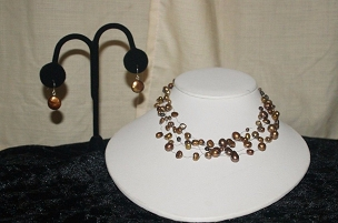 FW Pearl Illusion 14in  Choker w/  SS Coin Earrings   4-8 mm