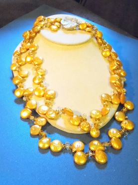 Golden Drip Coin Pearl Necklace 2 Strand