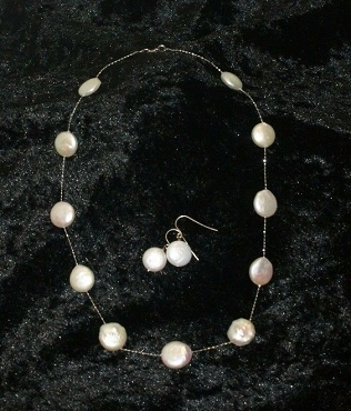 White Coin Pearl Necklace with Earrings 14K White Gold