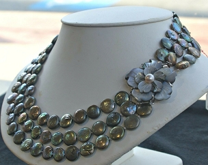 Rare 3 Multi Strand Black AA Coin Pearl Bib Necklace