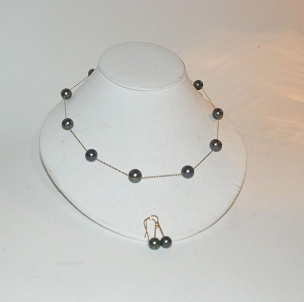 Tahitian Pearl 14K Gold Tin Cup Necklace w earrings