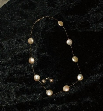 Cream Coin Pearl Necklace Set 15 in