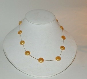 Golden Coin Pearl Casual Necklace 14K 17 in