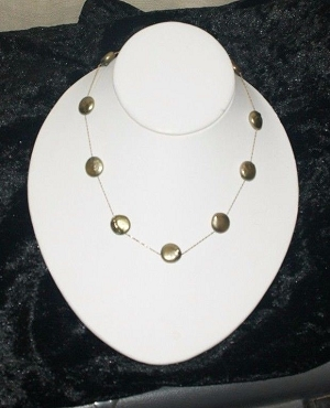 Lt Green 14K  Coin Pearl 15 in Necklace