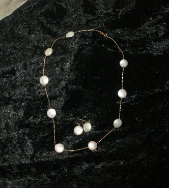 Coin Pearl Casual Necklace with Earrings 14K