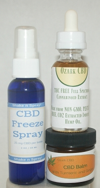 1000 mg CBD OIL, CBD Balm and CBD Freeze Spray Combo Pack.