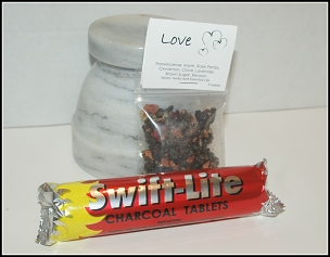 Love Resin Incense Blend  with Charcoal Discs